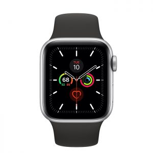 Apple - Apple Watch Series 5 (GPS) 40mm Space Gray Aluminum Case with Black Sport Band - Space Gray Aluminum